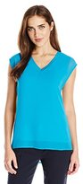 Calvin Klein Women's V-Neck Chiffon Layer Top