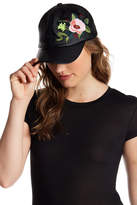 Natasha Accessories Faux Leather Floral Cap