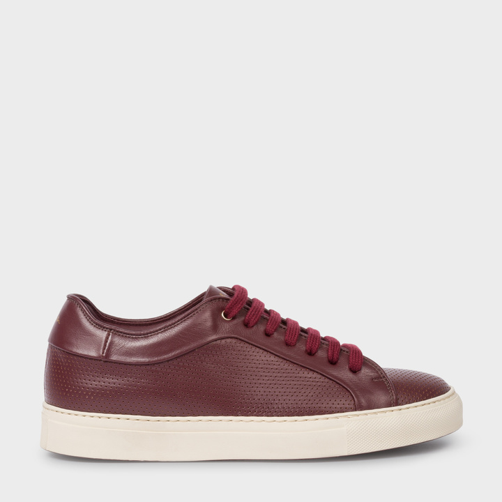 Paul Smith Women's Burgundy Perforated Leather 'Basso' Trainers