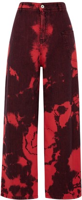 McQ Tie-dyed wide-leg jeans