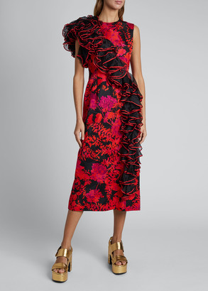 Dries Van Noten Durley Floral Chacha Ruffle Detail Dress