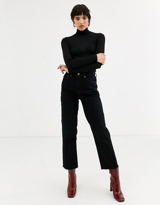 Topshop mesh top with funnel neck in black