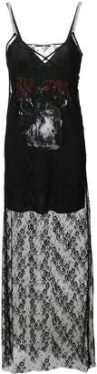 McQ graphic print lace slip dress