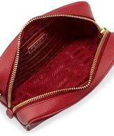 Prada Saffiano Mini Zip Crossbody Bag, Red (Fuoco)