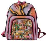Hand Painted Leather Backpack Multicolored from India, 'Royal Court'