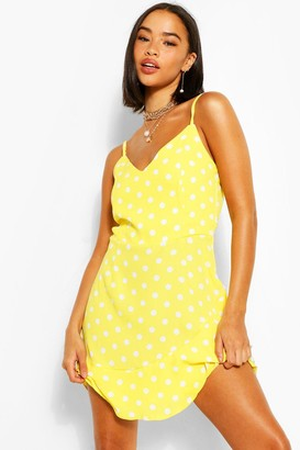 boohoo Chiffon Polka Dot Ruffle Hem Mini Dress