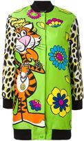 Moschino long jewelled tiger bomber jacket - women - Polyamide/Rayon - 36