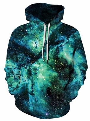 GLUDEAR Men's Plus Size 3D Novelty Print Galaxy Animal Hoodies Pullover Sweatshirt