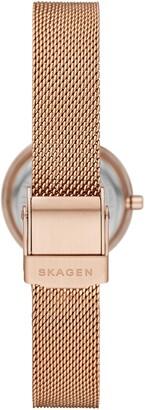 Skagen 'Leonora' Faceted Bezel & Stripe Mesh Strap Watch, 25mm
