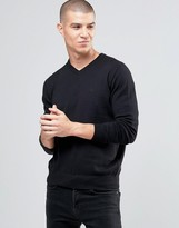 Armani Jeans Jumper With V Neck & Logo In Black