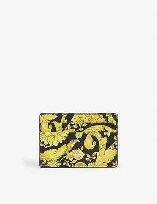 Versace Floral-print leather cardholder