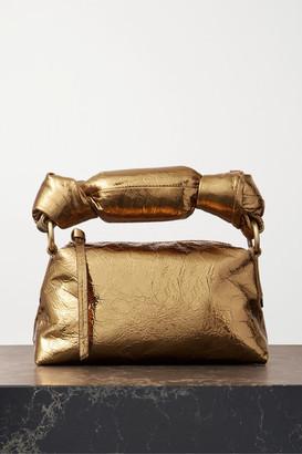 Dries Van Noten Mini Padded Metallic Crinkled-leather Tote