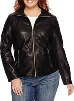 Liz Claiborne Faux-Leather Wing-Collar Jacket - Plus
