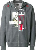 Les Hommes mixed techniques zip hoodie