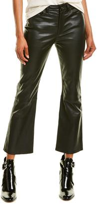 Rag & Bone Nina Black Leather High-Rise Ankle Flare Leg Jean