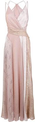 Talbot Runhof Lame Panelled Long Dress