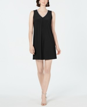 MSK Petite V-Neck Slit-Back Dress