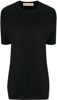 Marni Contrasting Stitching Short-Sleeved Jumper