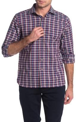 Hickey Freeman Bleeker Wine Check Print Regular Fit Sport Shirt