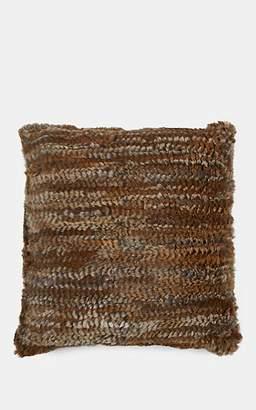 Adrienne Landau Rabbit Fur Pillow - Brown