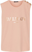 Balmain Button-embellished Printed Cotton-jersey Top - Blush