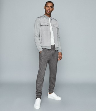 Reiss Copper - Pin Tuck Jersey Wool Joggers in Grey
