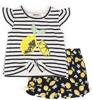 Little Lass Girls' Casual Shorts BLACK - Black & White Stripe Lemon Angel-Sleeve Top Set - Toddler