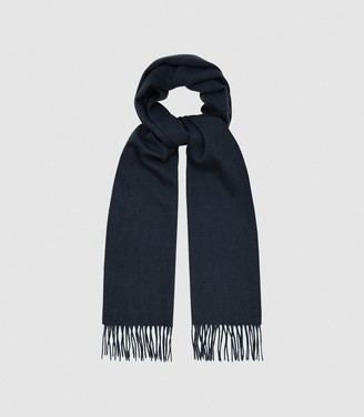 Reiss ASHTON LAMBSWOOL CASHMERE BLEND SCARF Navy