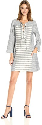 BCBGMAXAZRIA Azria Women's Lani Tie Front Striped Knit Casual Dress