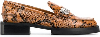 Ganni Snakeskin-Effect Crystal-Button Loafers