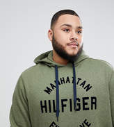 Tommy Hilfiger Plus Barney Manhattan Logo Hooded Sweatshirt In Green