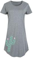 Instant Message Women's Women's Tee Shirt Dresses HEATHER - Heather Gray Chevron Cactus Short-Sleeve Dress - Women & Plus