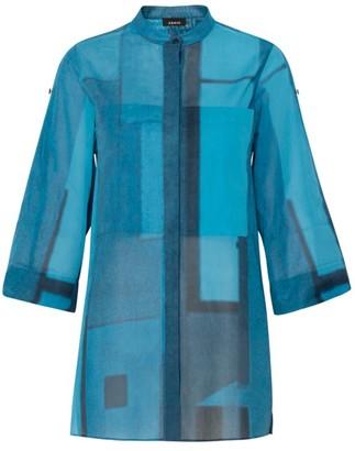 Akris Window-Print Roll-Up Sleeve Tunic Top