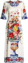 Dolce & Gabbana Majolica-print round-neck charmeuse dress