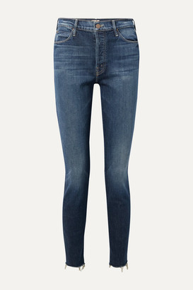 Mother The Stunner Frayed Mid-rise Skinny Jeans - Dark denim