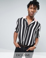 Reclaimed Vintage Stripe Revere Shirt In Reg Fit