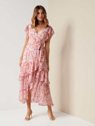 Forever New Tiffany Wrap Midi Dress - Coral Water Floral - 4