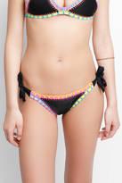 Platinum Black Crochet Full Tie Side Bikini Bottoms