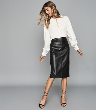 Reiss KAI LEATHER PENCIL SKIRT Black