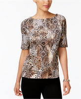Charter Club Cotton Printed Boat-Neck Top, Created for Macy's