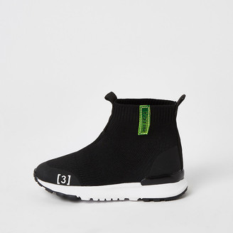 River Island Mini boys black knitted high top trainers
