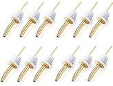 FM (12 Pack Golden Color) Stainless Steel Classic Bottle Pourers w/ Tapered Spout