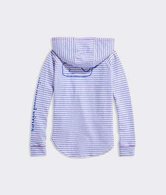 Vineyard Vines Girls' Beachcomber Stripe Vintage Whale Hoodie Tee