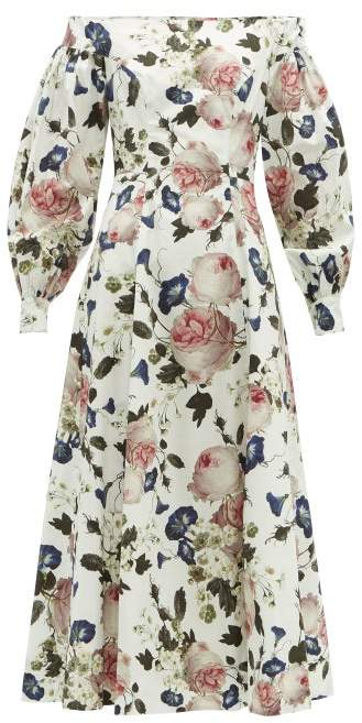 Erdem Polina Apsley-print Off-the-shoulder Cotton Dress - Womens - White Print