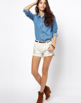 Denim Shorts with Embroidered Detail