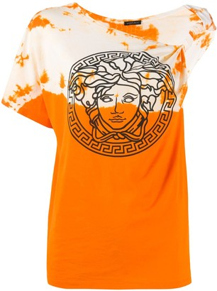 Versace one-shoulder tie-dye T-shirt