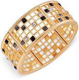 T Tahari Gold-Tone Scattered Crystal Grid Bangle Bracelet