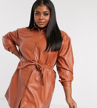 Saint Genies Plus oversized belted pu shirt dress in tan