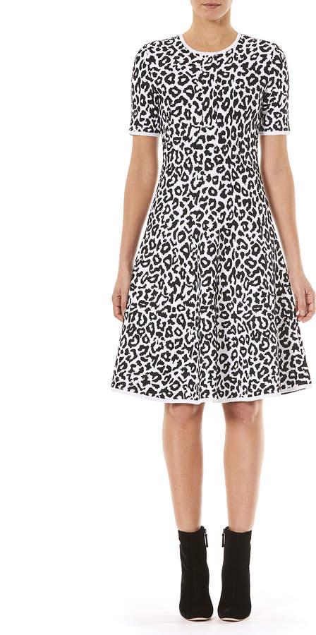 Carolina Herrera Crewneck Short-Sleeve Leopard-Jacquard Knit Fit-and-Flare Dress