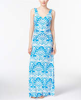INC International Concepts Petite Printed Ruched Maxi Dress, Only at Macy's